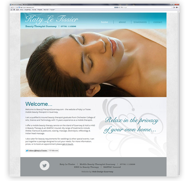 Mobile Beauty Therapist Website