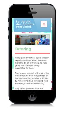 Le Jardin Preschool Website Optimized For Mobile Devices