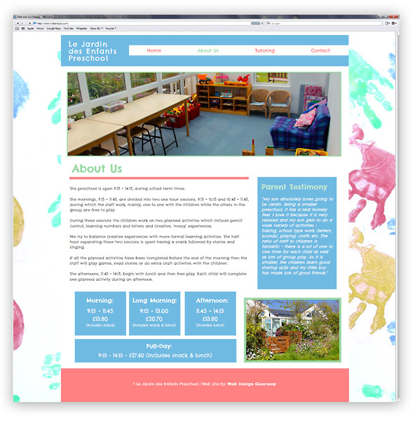 Le Jardin Preschool Website Design