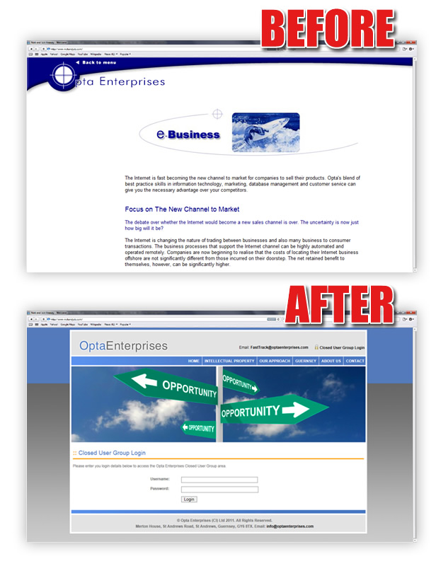 Opta Enterprises Site Before and After Website Redesign