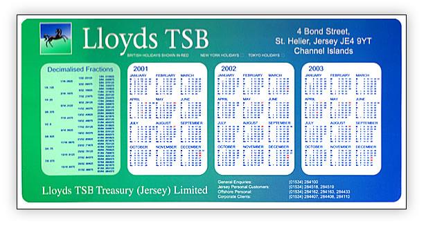 Lloyds TSB Printed Calender