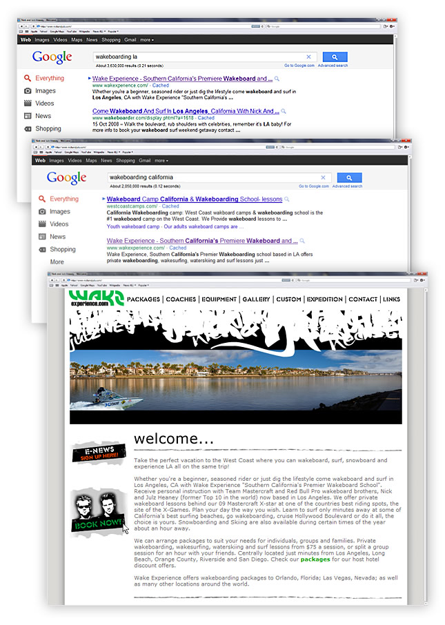 Wake Experience Website SEO