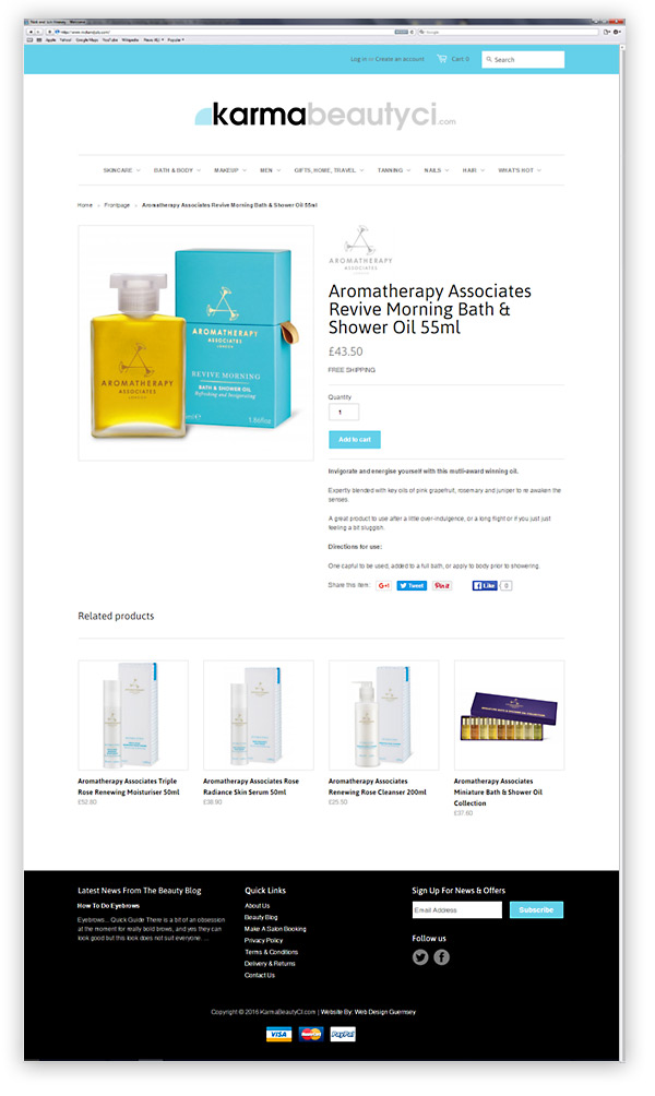 Karma Beauty Ecommerce Website Design Guernsey