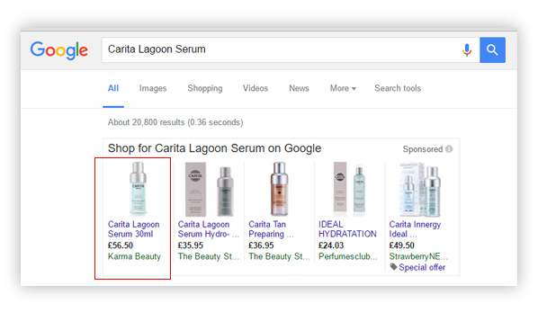 Karma Beauty Guernsey Google Shopping Adverts PLA Management