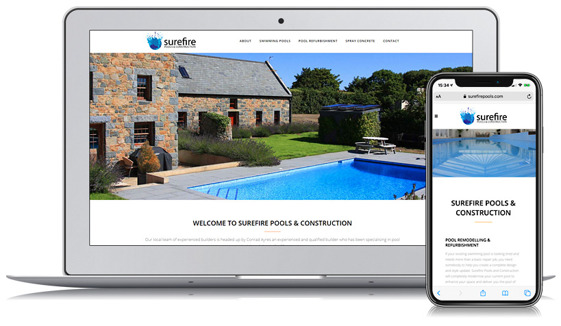 Surefire Pools Guernsey Web Design